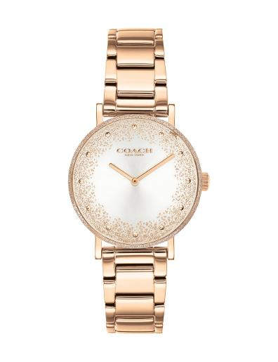 Coach Women's PERRY SILVER WHITE Dial Rose Gold Stainless Steel Watch. 14503639