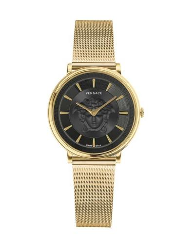 Versace Women's VCIRCLE Black Dial Gold Stainless Steel Watch. VE8102119