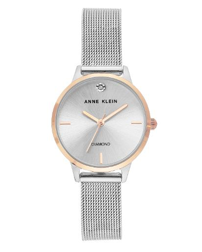 Anne Klein Women's Metal Silver Sunray Dial silver Stainless Steel Watch. AK3547SVRT