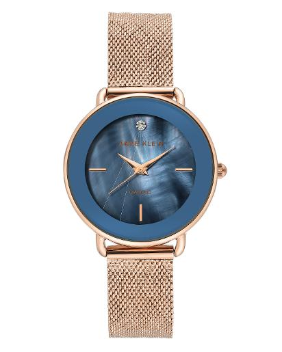 Anne Klein Women's Trend Denim blue mother of pearl Dial Nickel compliant rose gold Stainless Steel Watch. AK3686NVRG