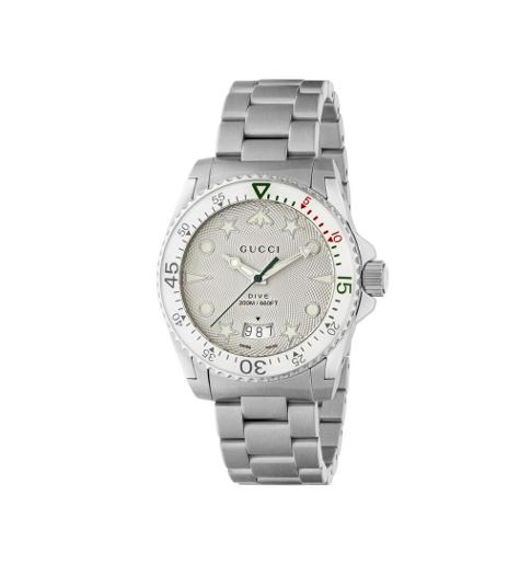 Mens's DIVE White Dial Silver Stainless Steel Watch.  YA136336