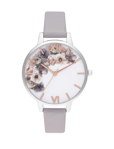Olivia Burton Women's Watercolor Florals White Dial Grey Leather Watch. OB16PP56