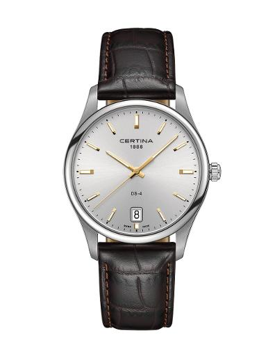Certina  Men's Ds-4 Silver Dial Black Leather Watch  C022.610.16.031.01