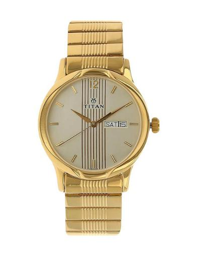 Titan Champagne Dial Stainless Steel Strap Watch T1580YM05