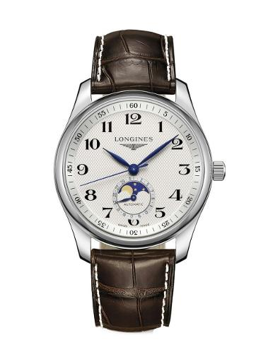 Longines Men's MASTER White Dial Brown Leather Watch. L29094783