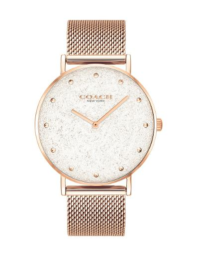 Coach Women's PERRY SILVER WHITE Dial Rose Gold Stainless Steel Watch. 14503631
