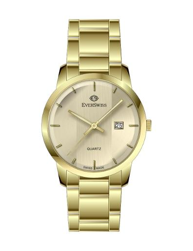 Everswiss Men's Metal Folded Band Gents Champ Dial Yellow Gold Plated Stainless Steel Watch. 9748-GGC