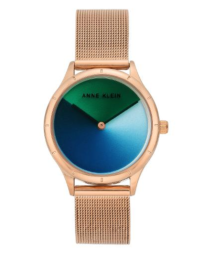 Anne Klein Women's Trend multi color: blue/green Dial Nickel compliant rose gold Stainless Steel Watch. AK3776MTRG