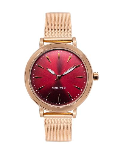 Nine West Women's Trend Red Dial Rosegold Stainless Steel Watch. NW2392BYRG