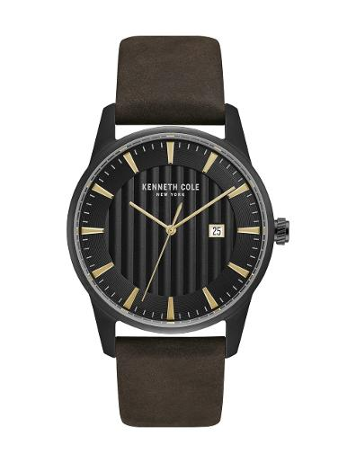 Kenneth cole Men's Classic Black Dial Brown Leather Watch. KC15204003