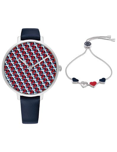 Tommy Hilfiger Women's Gift Set Multicolor Dial Blue Leather Watch. Tommy Set 2