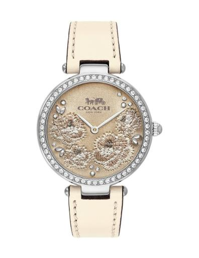 Coach Women's Park Brown Dial White Leather Watch. 14503284