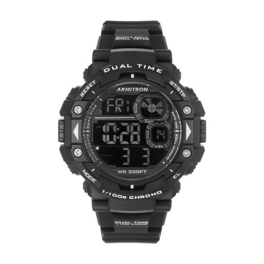 ARMITRON Men's DIGITAL Digital Dial Black Silicon Watch. 408309BLK
