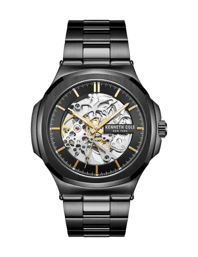 Kenneth cole Men's Automatic Black Dial Black Leather Watch. KC51017007