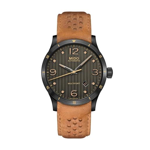 Mido Mido Automatic  Multifort Men Brown Leather Stainless steel Round Black Dial Watch M025.407.36.061.10