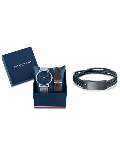Tommy Hilfiger Men's Gift Set Blue Dial Grey Stainless Steel Watch. Tommy Set 6