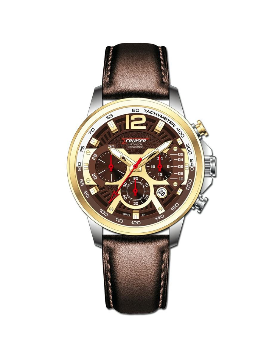 Cruiser  Men's Leather Chrono Brown Dial Watch.  C7346-GXGBRC