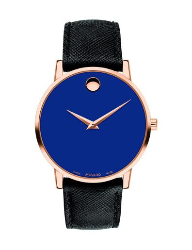 Movado Men's Museum Classic Blue Dial Black Strap Watch. 607266