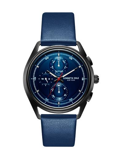 Kenneth cole Men's Sports Classic Blue Dial Blue Leather Watch. KC51028001