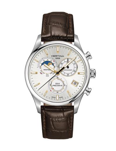 Certina  Men's DS 8 Silver Dial Brown Leather Watch  C033.450.16.031.00