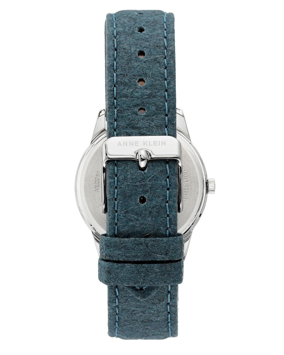 Anne Klein  Women's Leather Blue mother of pearl Dial Nickel compliant silvertone with blue Leather Watch.  AK3767BMBL