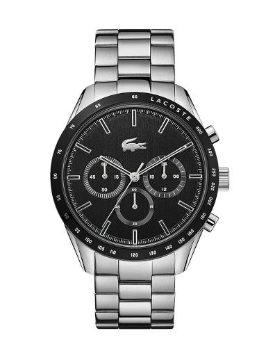 Lacoste Men's Boston Black Dial Silver Stainless Steel Watch 2011079