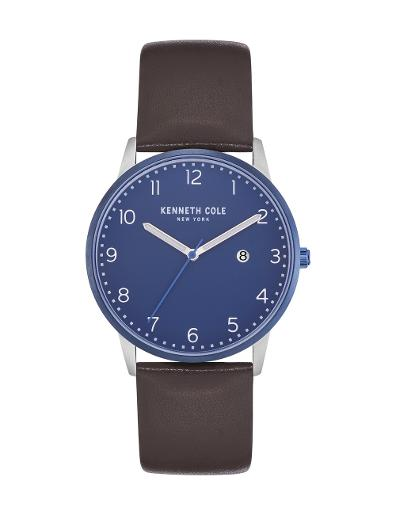 Kenneth cole Men's Classic Blue Dial Brown Leather Watch. KC50221003