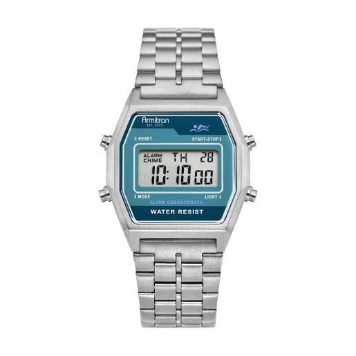 ARMITRON Men's The Rubik Digital Dial Silver Stainless Steel Watch. 408474NVSV