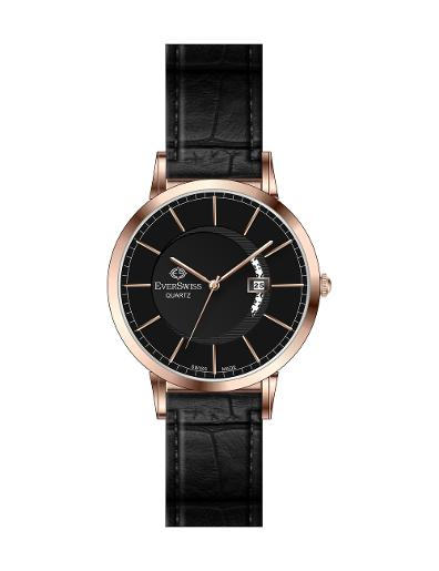 Everswiss Women's Leather Pair Black Dial Black Leather Watch. 9749-LLRB