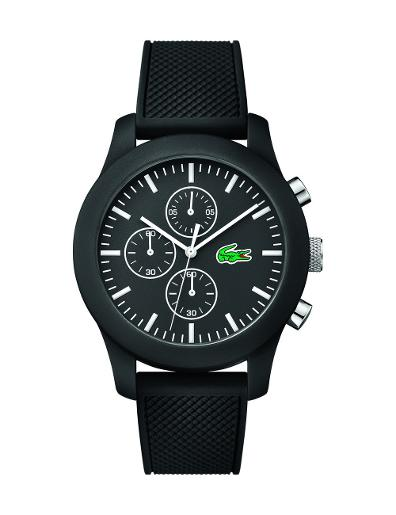 Lacoste Men's L12.12 Black Dial Black Silicon Watch. 2010821