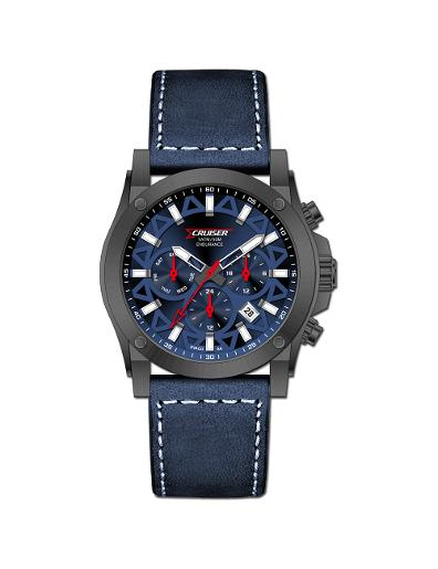 Cruiser Men's Leather Multifunction Blue Dial Watch. C7296-GZUU