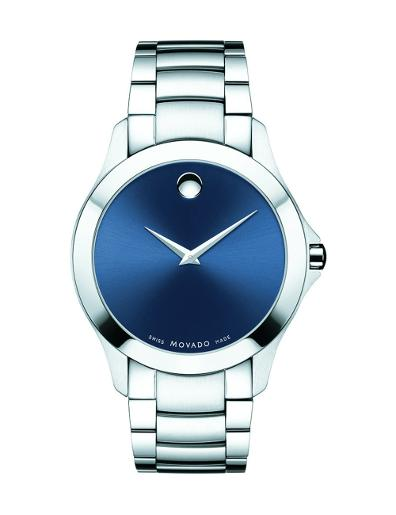 Movado Men's Masino Blue Dial Silver Bracelet Watch. 607033