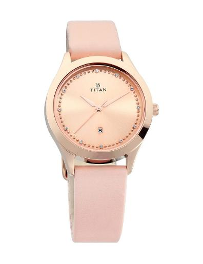 Titan Sparkle Pink Dial Analog Date Function Watch for Women T2570WL01