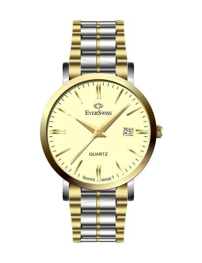 Everswiss Men's Metal Solid Band Pair Champ Dial Stainless Steel with Yellow Gold colour plated Stainless Steel Watch. 4139-GTC