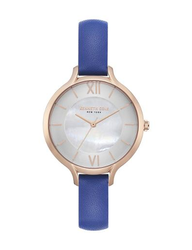 Kenneth cole Women's Classic Grey Dial Blue Leather Watch. KC15187007