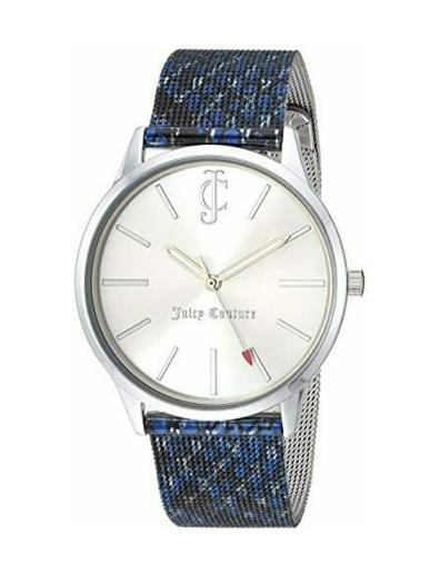 Juicy Couture Women's Leather Silver Dial Blue Stainless Steel Watch. JC1015SVNV