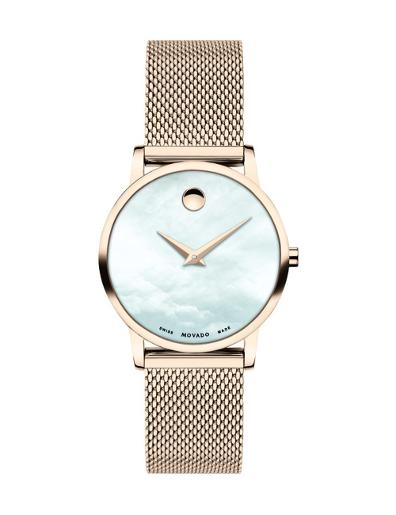 Movado Women's Museum White Mother of Pearl Dial Rose Gold Mesh Bracelet Watch. 607352