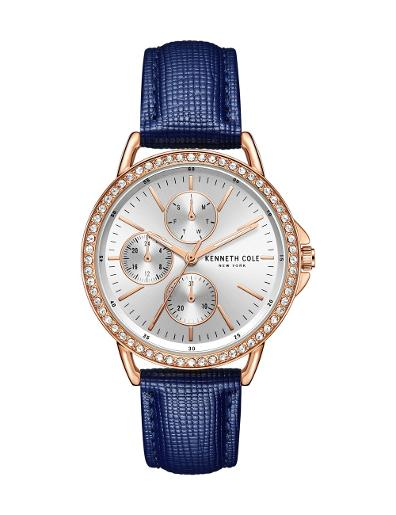 Kenneth cole Women's Classic Silver Dial Blue Ceramic Watch. KC51066002