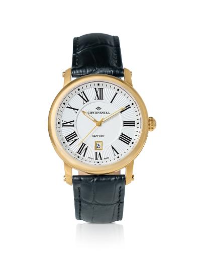 Continental Men's Classic White Dial Black Leather Watch. 24090-GD254710
