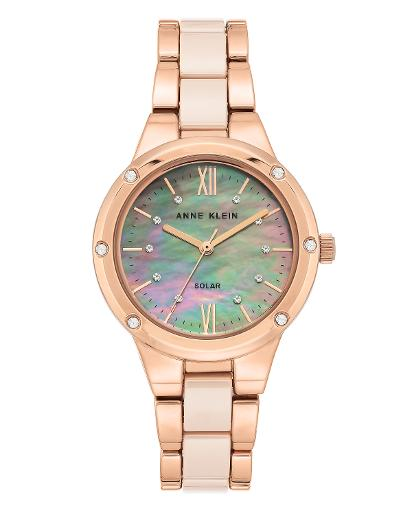 Anne Klein Women's Ceramic Blush mother of pearl Dial Nickel compliant rose gold with blush Ceramic Watch. AK3758LPRG