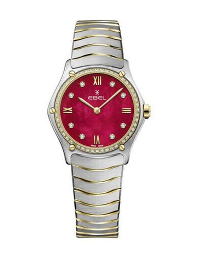 Ebel Women's Sport Classic Red Mother of Pearl Dial Two Tone Stainless Steel Watch. 1216491A