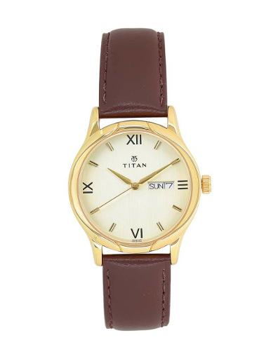 Titan Champagne Dial Leather Strap Watch T1580YL05