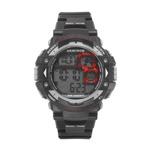 ARMITRON Men's DIGITAL Digital Dial Black Silicon Watch. 408309RED