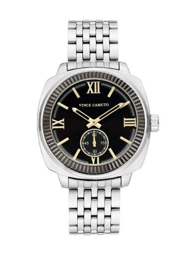 Vince Camuto Men's Metal Black Dial Silver Stainless Steel Watch. VC1132BKSV