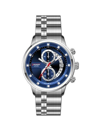 Cruiser Men's Metal Multifunction BLUE Dial Watch. C7297-GSUU