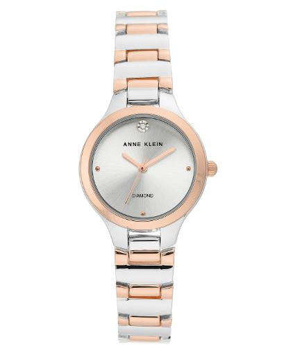 Anne Klein Women's Metal Silver Sunray Dial rosegold/two-tone Metal Watch. AK3609SVRT