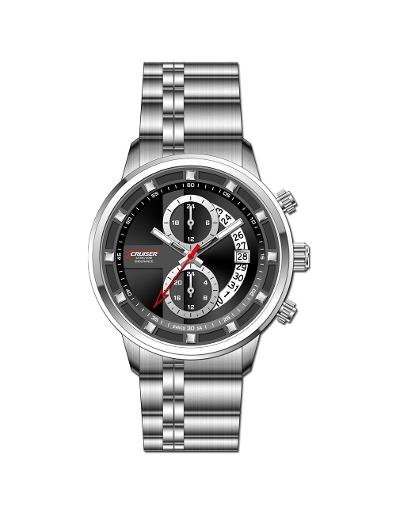 Cruiser Men's Metal Multifunction Black Dial Watch. C7297-GSBB