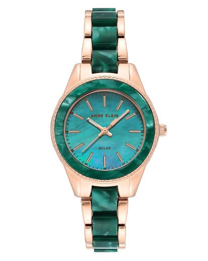 Anne Klein Women's CONSIDERED Green mother of pearl Dial Nickel compliant rose gold with green marble petroleum free plastic Plastic Watch. AK3770GNRG