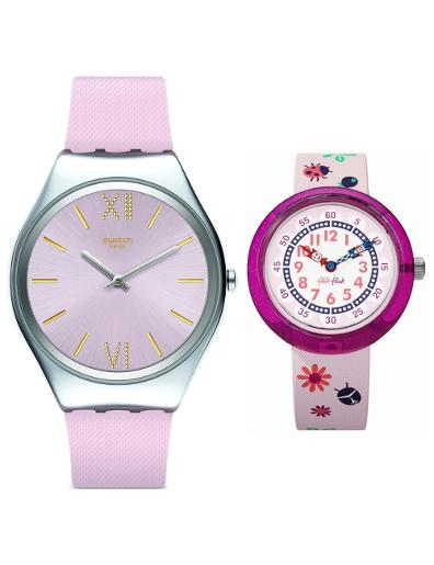 Swatch Swatch and Flikflak Pink Silicon Women's Gift Set SWATCH SET 3