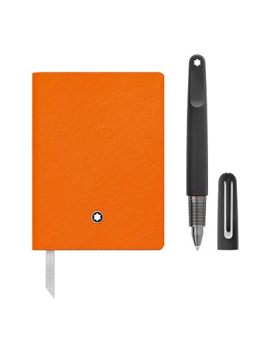 Montblanc Set with Montblanc M Ultra Black Ballpoint Pen and Notebook #145 Lucky Orange lined 117085